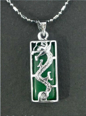 Beautiful Green Jade Silver Amulet pendant Necklaces AAA