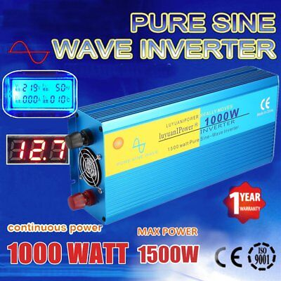 1000W (1500W MAX) Pure Sine Wave Power Inverter DC12V To AC220V Aluminum Q9
