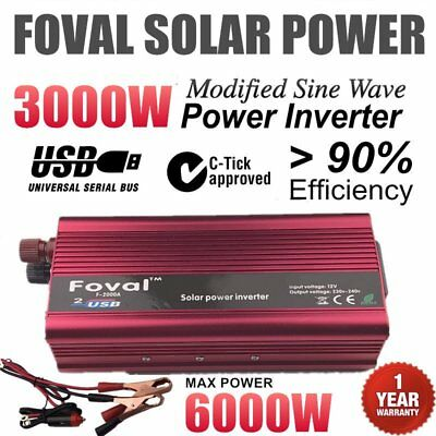 6000W MAX 3000W DC 12V to AC 240V Car Home Power Inverter Charger Converter Q9