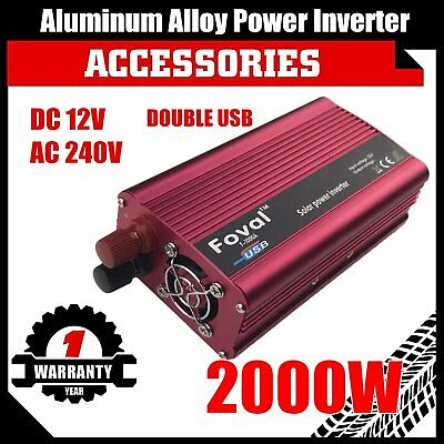 4000W Max 2000W Power Inverter Modified Sine Wave DC 12V to AC 240V Dual USB Q9