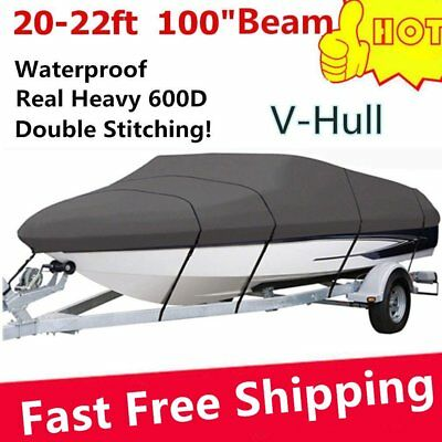 New 20 21 22Ft Waterproof Heavy Duty Fabric Trailerable V shape Boat Cover ^