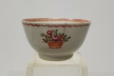 Antique Chinese Export Porcelain Tea Cup Bowl Floral As Is Hairline