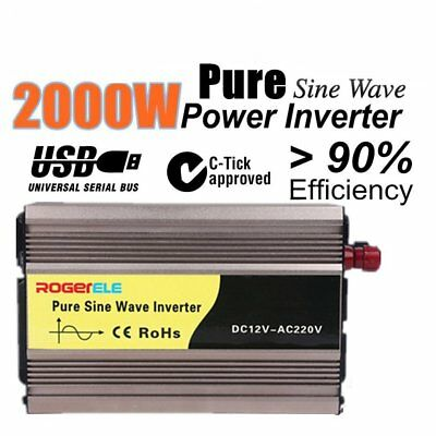 600W (4000W Max) 12V-240V Pure Sine Wave Car Power Inverter W/ USB Charger Q9