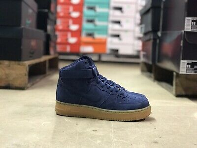 Womens Nike Air Force 1 Se High Top Blue Suede Tan 860544 001