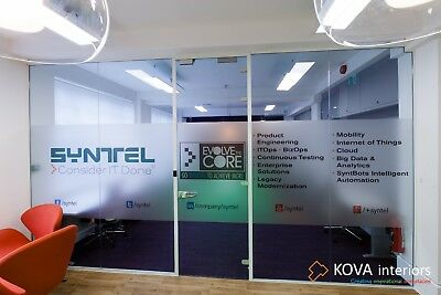 Glass partitions with installation by KOVA Partitions in London