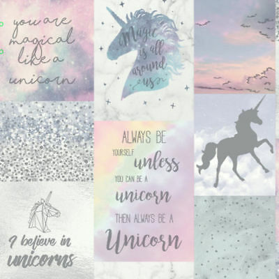 Believe In Unicorns Collage Girls Bedroom Glitter Sparkle Wallpaper 698300