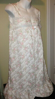 Vintage Womens Stardust Nightgown Lace Pink Roses Floral Sleeveless Medium