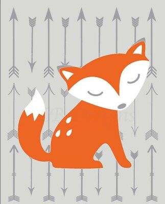 Orange and Gray Woodland Nursery Print, Fox Nursery Decor 8x10