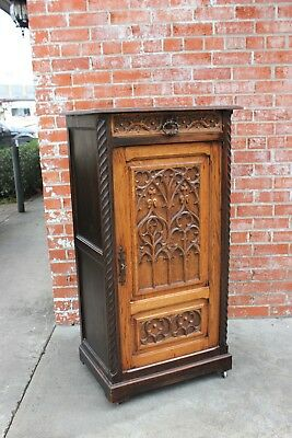 Antique French Carved Solid Oak Wood Gothic Short Single Door Cabinet Furniture