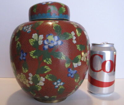 """Large Antique Chinese Cloisonne Ginger Jar Covered Jar 7.5"""" tall"""