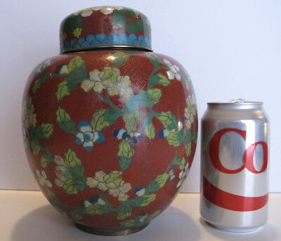 """Large Antique Chinese Cloisonne Ginger Jar Covered Jar 8"""" tall"""
