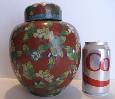 """Large Antique Republic Period Chinese Cloisonne Ginger Jar Covered Jar 8"""" tall"""