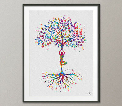 Yoga Tree Watercolor Print Relaxation Yoga Studio Yogi Art Office Decor Buddha