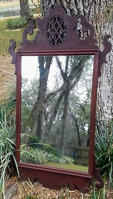 Antique Mirror Hanging Wall Victorian Chippendale Carved Eagle Pediment Mahogany