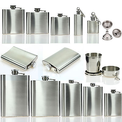 1-18oz Hip Flask Stainless Steel Pocket Drink Whisky Bar Pub Flasks Cups Funnel
