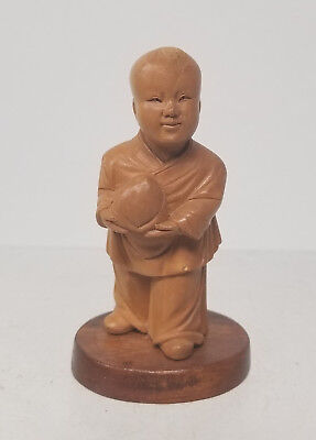 Antique Vintage Chinese Carved Cultural Revolution Boxwood Child Figure Statue