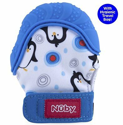 Nuby  Soothing Teething Mitten with Hygienic Travel Bag Blue Penguins