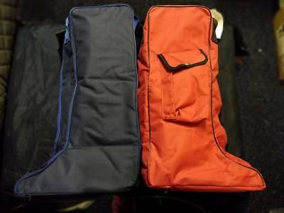 Rhinegold Long Riding Boot Carry Storage Travel Bag - Navy and Red Available