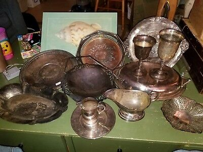 VICTORIAN lot 12piece W.SB Rogers Wallace Yeoman Barton Revere silver plate