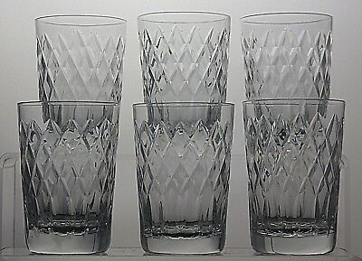 "6 Royal Brierley Crystal ""Coventry"" Cut Flat Juice (5 oz) Tumblers -3 1/2""Tall"