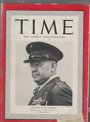 Vintage Time Magazine Holcomb of Marines Chesterfield Cigarette ad Nov 1940