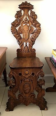 Antique 19th Century Carved Baroque Sgabello Italian Chair