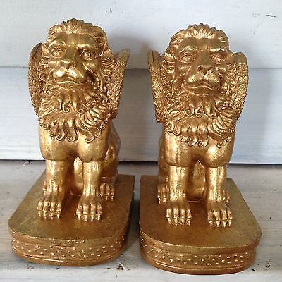 Pair Of Golden Lion Bookends