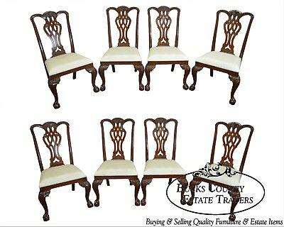 Mailand Smith Chippendale Style Mahogany Set of 8 Dining Chairs