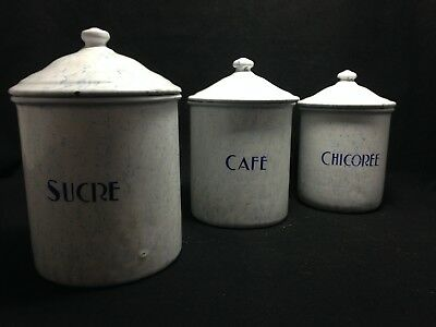 Antique Vintage French Enamel 3 Piece Canister Set white and blue