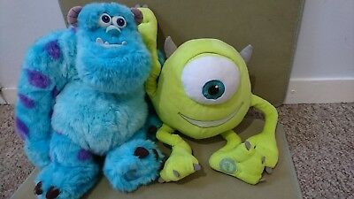 Disney Store exclusive Authentic Monsters Inc Mike and Sully Plushes large Pixar