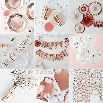 ROSE GOLD Party Decoration Tableware Balloons Accessories Birthday Tea Party