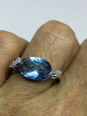 Genuine Blue Topaz Real White Sapphire Vintage 925 Sterling Silver Filigree Ring