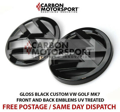 VW Golf MK7 2013 On Gloss Black Front & Rear Boot Badge Emblems GTI/GOLF R/GTTDI