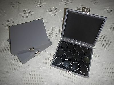 Gray 12 Gem Jar Inserts Display Case. Gemstone Storage Jewelry