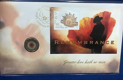 2012 Remembrance PNC $2 two dollar Red Poppy Coloured coin 'C' mintmark