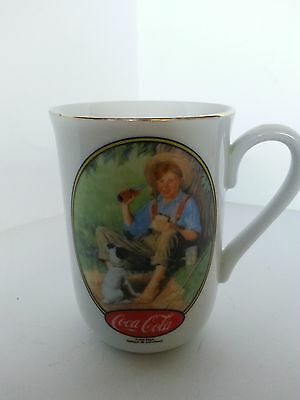 "Coca-Cola Coffee Mug Norman Rockwell ""the Barefoot Boy"" 1986 English & French"