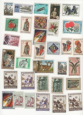 RWANDA circa. 1965 - 1972 selection 30 stamps as pictured - mixed condition MINT