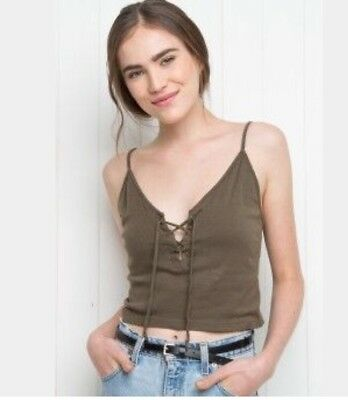 bca7b0fd3da brandy melville oilve green crop ribbed Lace Up Bethany tank top NWT XS/S