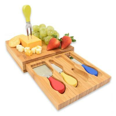 Vina Bamboo Cheese Cutting Board With Knife Set   And Serving Tray 4 Piece.