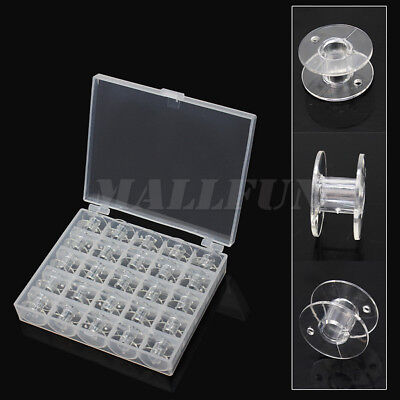 25X Durable Empty Clear Plastic Bobbins Spools Sewing Machine With Storage Case