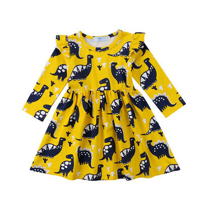 UK Toddler Kid Baby Girls Long Sleeve Dinosaur Party Pageant Tutu Dress Clothes
