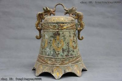 China Folk Collect Buddhism Temple Old copper Bronze gilt Dragon Ancient bell