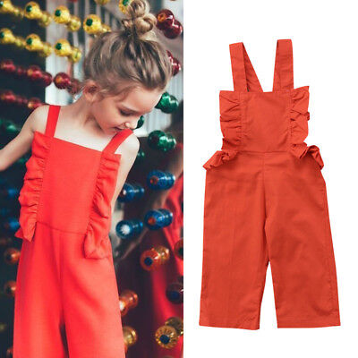 Toddler Kid Baby Girl Strap Jumpsuit Romper Bodysuit Outfits Clothes Playsuit UK