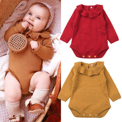 Infant Kids Baby Girls Knitting Wool Romper Bodysuit Jumpsuit Outfits Clothes UK