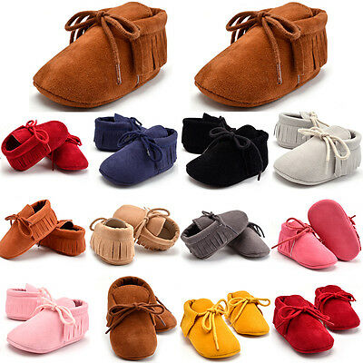 Toddler Kid Baby Boy Girl Tassel Soft Sole Cotton Boot Pram Shoes Prewalker UK