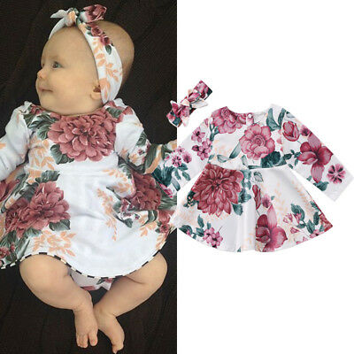 2Pcs Newborn Kids Baby Girls Floral Xmas Dress Princess Party Pageant Costume UK