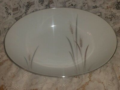 "One Platinum Wheat Oval Vegetable or Serving Bowl 10 3/8"" - Fine China of Japan"