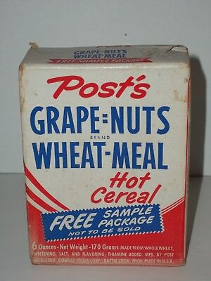 Free Sample POST'S GRAPE=NUTS WHEAT-MEAL Cereal NOS General Foods Battle Creek