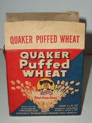 1949 Sample PUFFED WHEAT CEREAL QUAKER OATS Single BOX 1 oz Diner Exc
