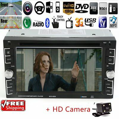 """6.2"""" Double 2DIN Core Bluetooth Car Stereo DVD CD MP3 Player Radio+CameraCJ"""